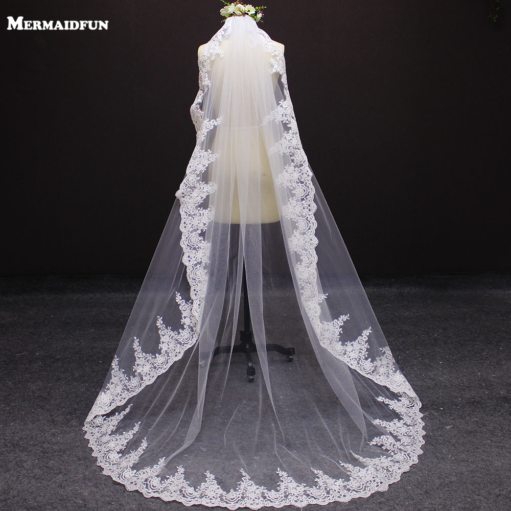 New Arrival 2 Meters One Layer Lace Edge Wedding Veil With Comb 2 M Bridal Veil
