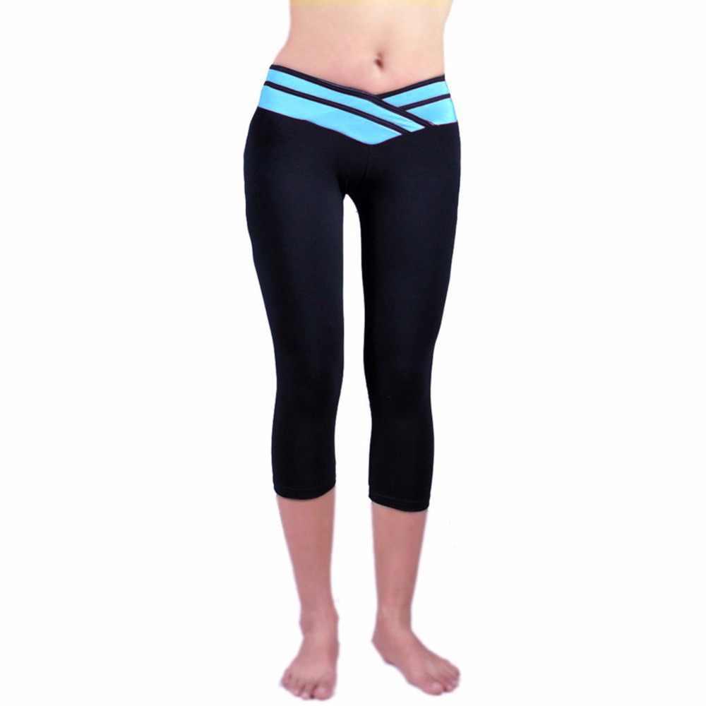 07390ede2895b ... Leggings Summer Women High Waist Elastic Fitness Waistband Capri Women Pants  Stretch Leggings Calzas Mujer Leggins ...