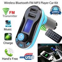 Горячая Беспроводной Bluetooth FM передатчик MP3 плеер, автомобильный набор, Зарядное устройство для iPhone samsung