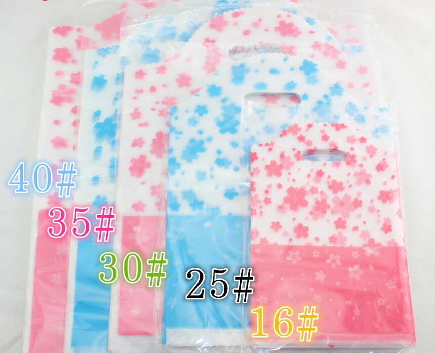 Large pink printed Plastic Storage Bags Gift Packaging Plastic Bag Storage bags with handles for jewelry