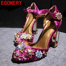 2016 new spring summer woman rhinestone high heels shoes wedding shoes bridal red purple lace platform party shoes for women