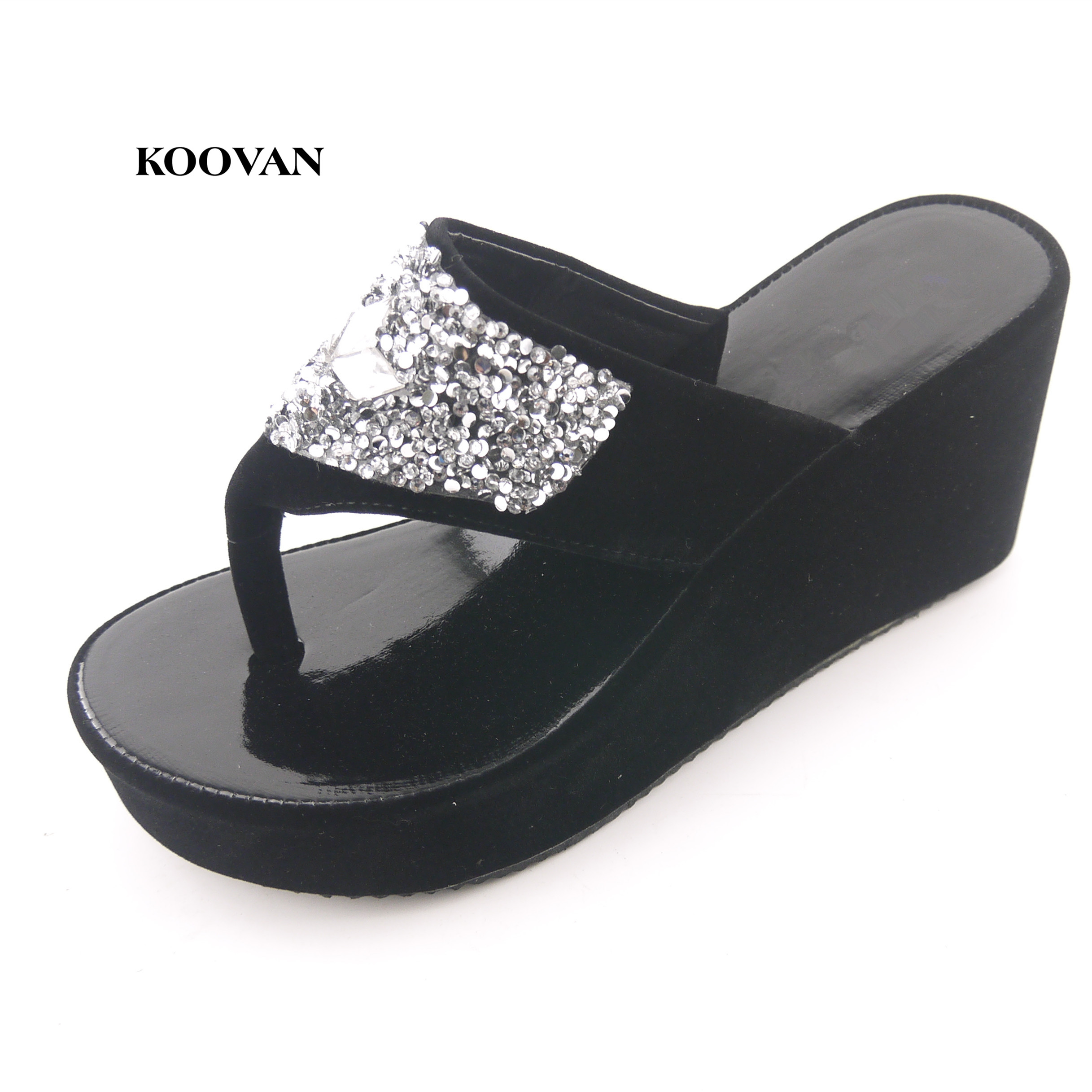 Koova Summer New Fashion Women Shoes Roman Women Sandals Flip  Heavy-bottomed Muffin Women Sandals And Slippers Diamond Shoes cd82e4bfae12