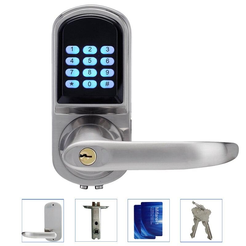 LACHCO электронный замок двери пароль, 2 карточки, 2 механические клавиши клавиатуры цифровой код замок Keyless smart Lock lk200BS ...