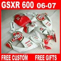 Популярные белый красный Обтекатели для 2006 2007 SUZUKI мотоцикл GSX R 600 750 K6 BACARDI GSXR600 GSXR750 установить 7 подарки FD72