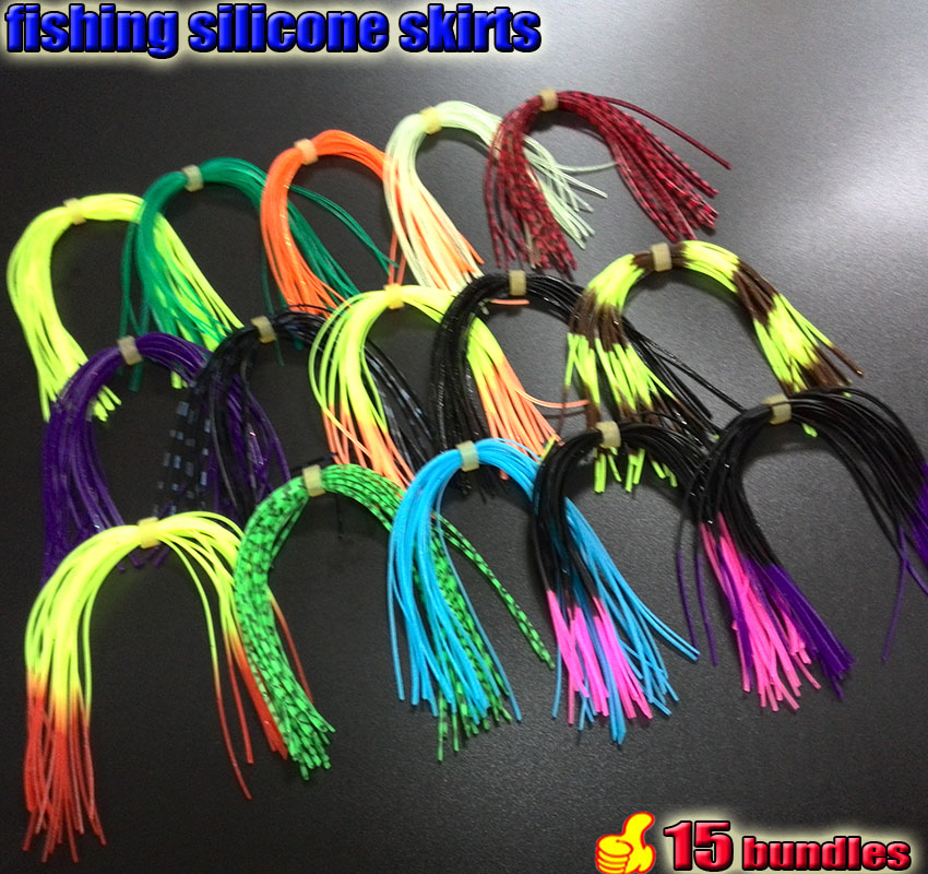 2019 NEW fishing silicone skirts MIX color 15 bundles/<font><b>bag</b></font> <font><b>jig</b></font> lures <font><b>squid</b></font> skirts fly tying 3group choose image