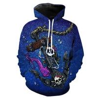 MWBAY 3D Skull Pattern Sweatshirts Men Women Hoodies With Hat Couple Spring Autumn Winter Loose Thin