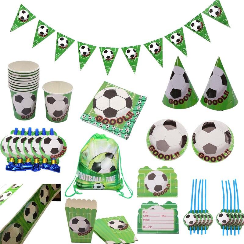 Футбольная тематическая вечеринка посуда бумажная салфетка под тарелку кружку флаг с головным убором Детские подароки сувениры сумка скат...