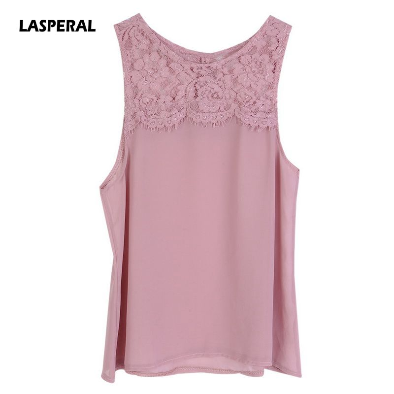 LASPERAL Lace Knitted Tank Tops Female Sexy O-Neck Vest Plus Size Solid Club Tops Women Pink White Shirt Chiffon Lace Tank Tops