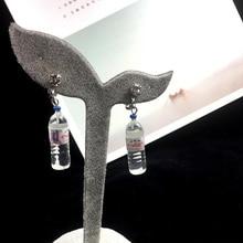 Grace Jun Korea Style Mineral Water Bottle Shape Clip on Earrings No Pierced for Girl Party Cute Long Earrings Charm Jewelry New