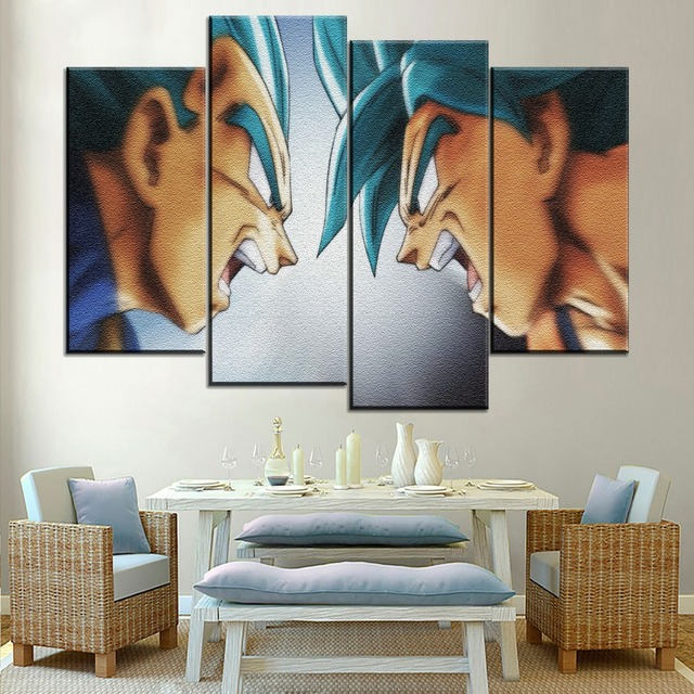 Modular Pictures 4 Pieces Goku And Vegeta Poster Anime Dragon Ball Super Painting Modern Top-rated Canvas Hd Printing Type Style