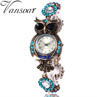 Vansvar Brand Luxury Crystal Bracelet Watches Fashion Women Owl Watch Beautiful Girl Gift Watch Relogio Feminino