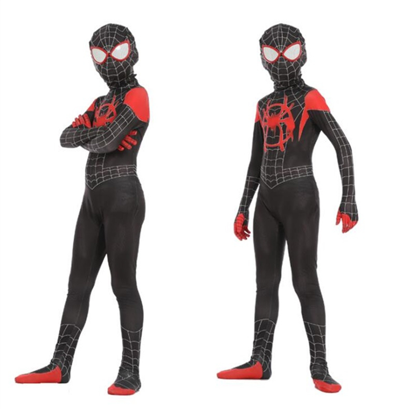 Spider-Man: Into the Spider-Verse Miles Morales Kids Cosplay Costume Zentai Superhero Bodysuit Jumpsuit Suit