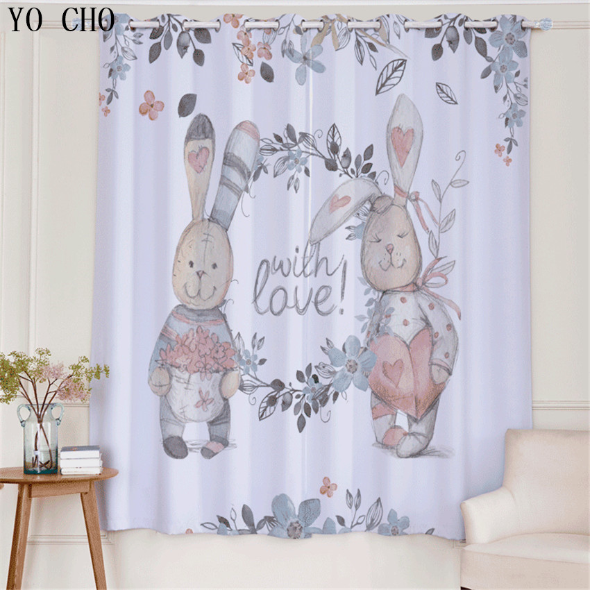 YO CHO Love rabbit print 3D curtains for children kinder gordijnen ...
