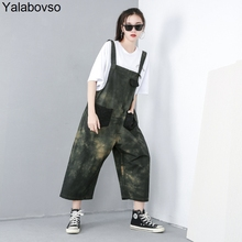 463a3ee11a4 Hip Hop Denim Jumpsuit Pants Loose Printing Casual Amy green Style Playsuit  Denim Jumpsuit for woman