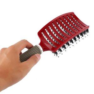 Image 5 - פרו נשים שיער קרקפת עיסוי מסרק זיפי & ניילון מברשת שיער רטוב מתולתל Detangle שיער מברשת לסלון סטיילינג כלים