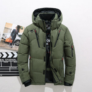 Image 2 - 厚く暖かい冬フード付きカジュアル屋外男ダウンジャケットパーカーファッションウインドブレーカーメンズオーバーコート
