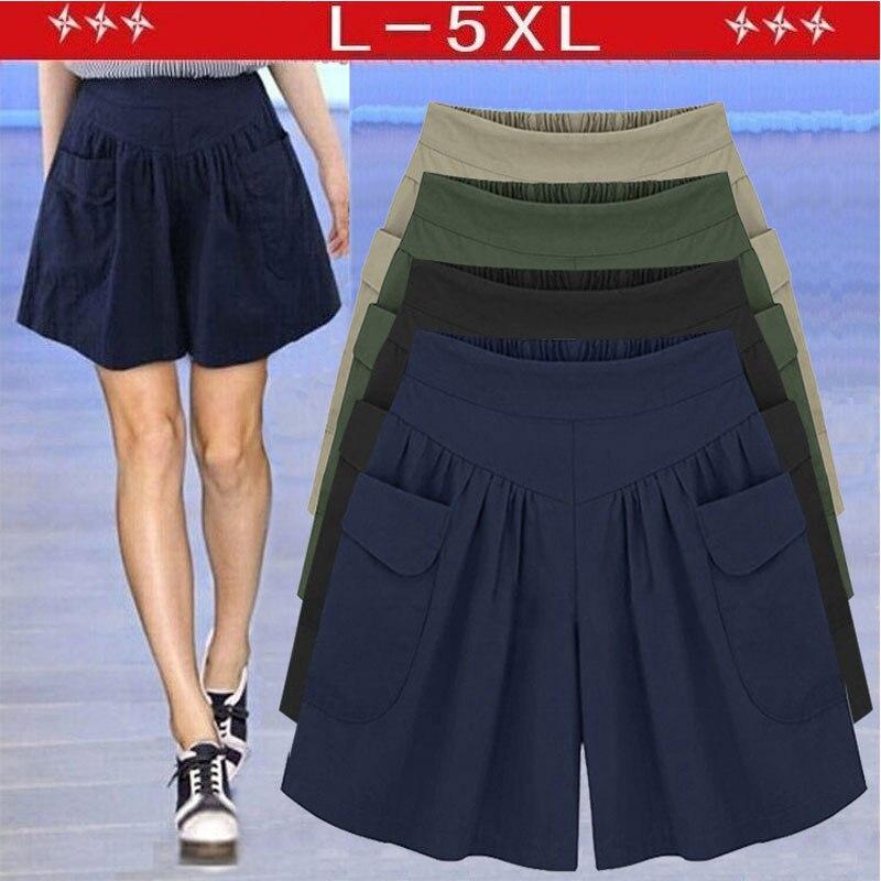 2020 Summer European Style Plus Size 5XL Ladies Shorts Loose Casual Wide-Leg Short Street Elastic Waist Flare Women Clothing