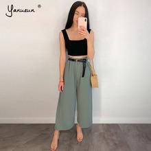 Yanueun Spring Summer Hot Sale Solid Wide Leg Pants Loose Pants Bow Ankle Length Pants Women #8217 s High Waist Stylish Loose Pants cheap Polyester Ankle-Length Pants High Street JERSEY Elastic Waist Pleated YA-P68
