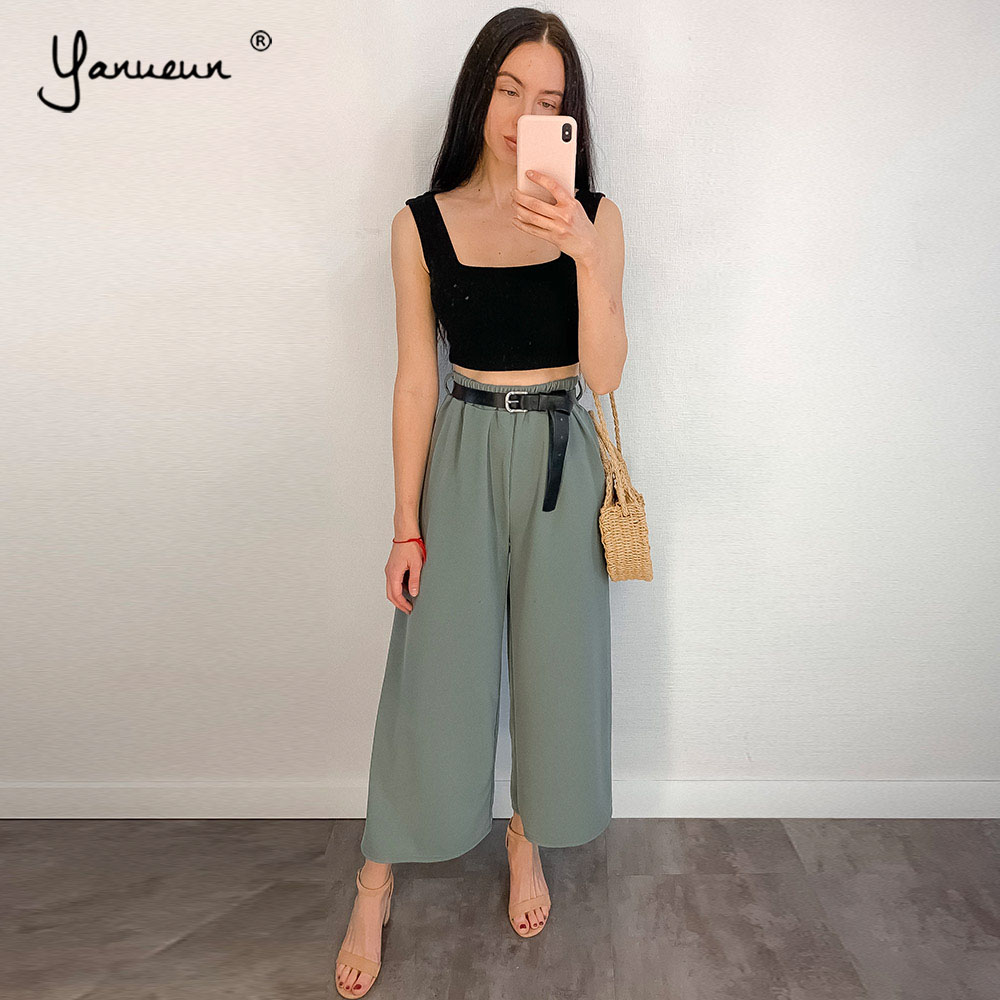 Yanueun Loose Pants Spring Ankle-Length High-Waist Wide Summer Women's Stylish Bow Solid title=