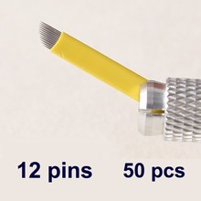12 Pins 50PCS Permanent Makeup Eyebrow Tattoo Bevel Blade Microblading Needles For 3D Embroidery Manual Tatoo Pen Machine Yellow