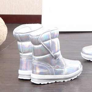 Image 2 - 2020 New Winter fashion women boots mixed natural wool female warm boots waterproof thick fur full size silver lady snow boots