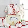 7 pcs/set recién nacido mamelucos del bebé de la marca infantil espesar traje regalos ropa bebe niño/niña mono de algodón 100% de dibujos animados ropa interior 0-3 m