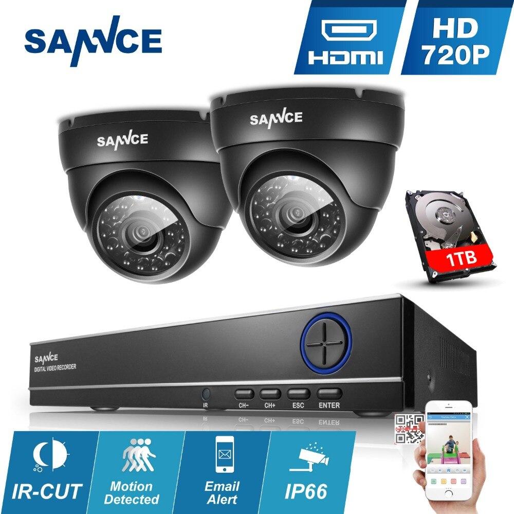 bilder für Sannce 4ch 960 h cctv dvr 900tvl im freien ir nacht kamera Home Security System 4 Kanäle 720 P überwachungssets 1 TB HDD Optional