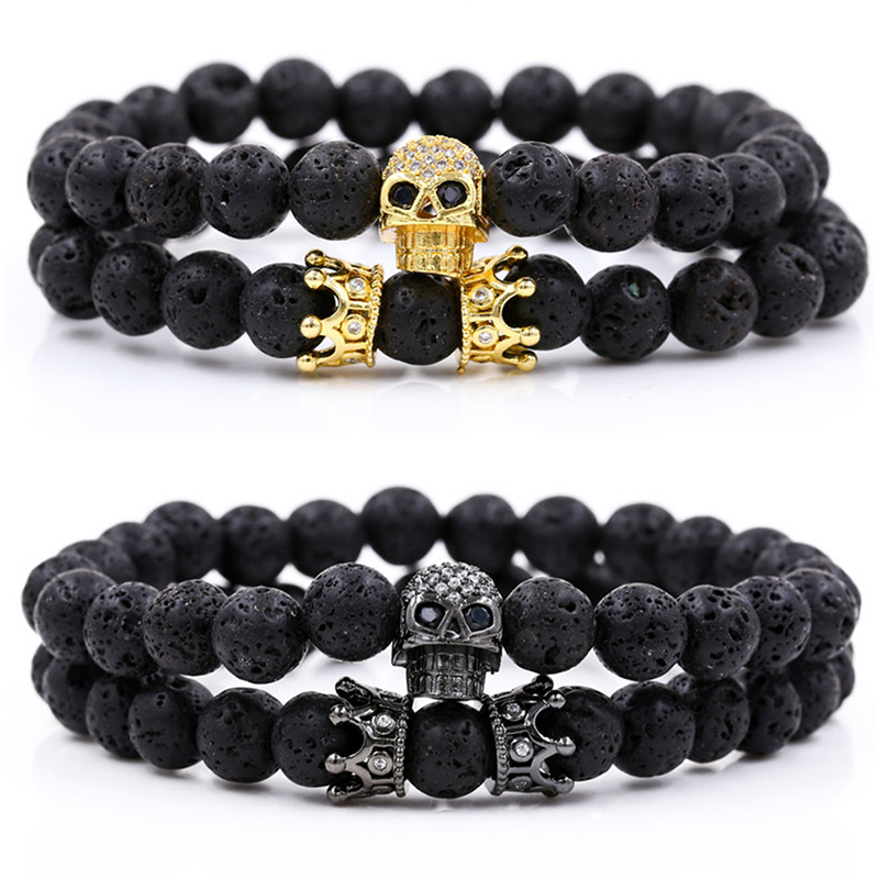Luxury 2Pcs/Set Natural Lava Stone Beads Male Pave CZ Skull Crown Bracelet Bangle Sets For Mens Women Hand Jewelry Homme Bijoux