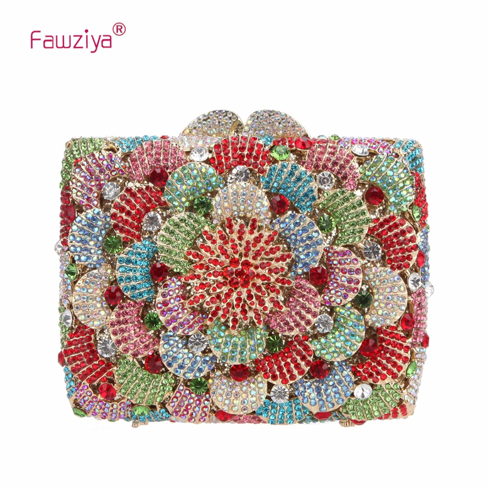 Fawziya Women Evening Bag Flower Clutch Handbags For Women Purses Bling Evening Bag fawziya apple clutch purses for women rhinestone clutch evening bag