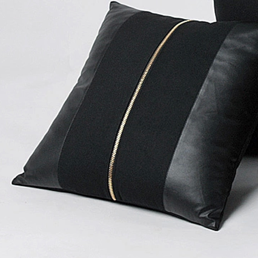 Black Decorative Pillow Cases : ZT1017 Rock Cool Style PU Leather Woolen Single Zipper Home Decoration Black Throw Pillow Case ...