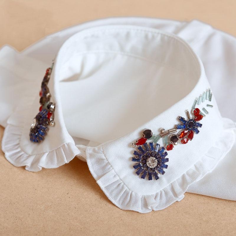 Ladies Detachable Collar Beads 2020 White Elegant Fake Collar Shirt Women Crystal False Collars Woman Lace Removable Nep Kraagie