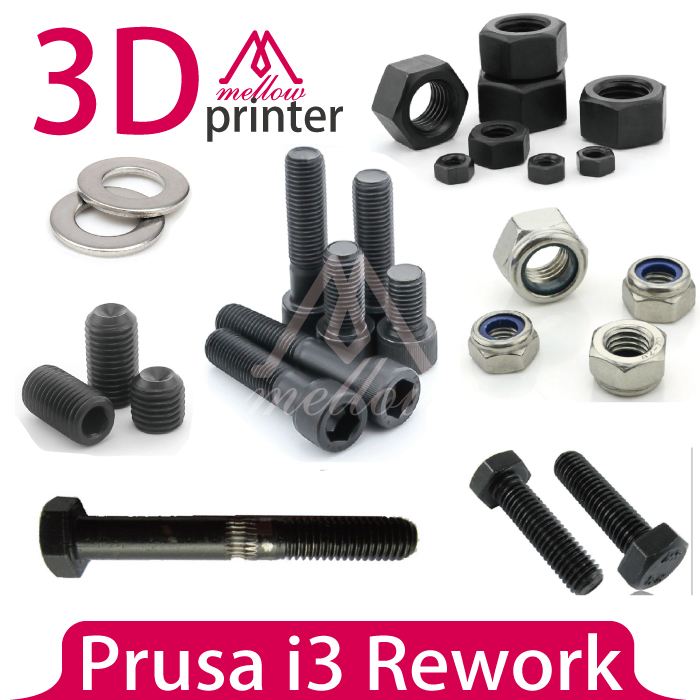 DIY Prusa i3 Rework Reprap 3D Printer Nuts & Bolts Screw Full Kit,machine screw hex nut lock nut smooth rod or grub screw