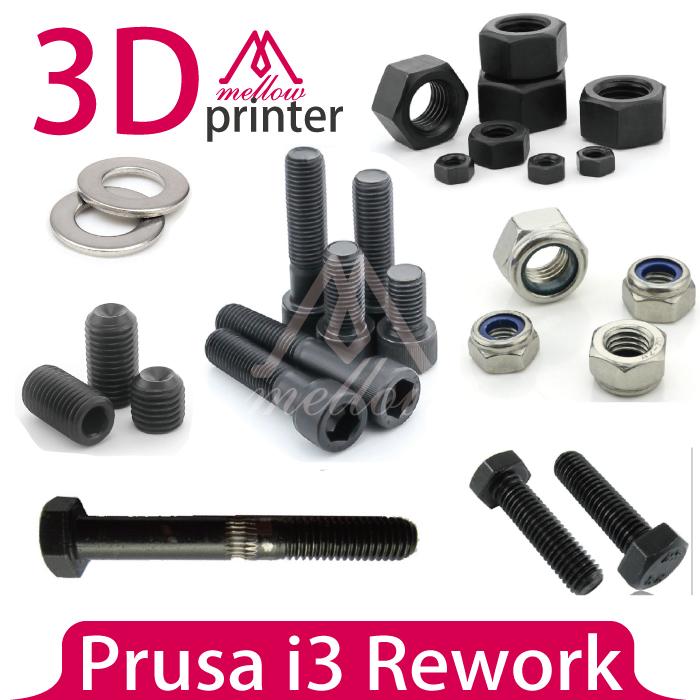 Prix pour DIY Prusa i3 de Reprise Reprap 3D Imprimante Écrous et Boulons Vis Kit complet, machine vis écrou hexagonal écrou lisse tige ou grub vis