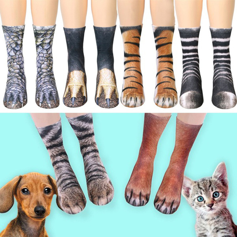 Harajuku Women Socks 3D Print Dinosaur Tiger Fantastic Anilam Paw Socks 10 Patterns Wome ...