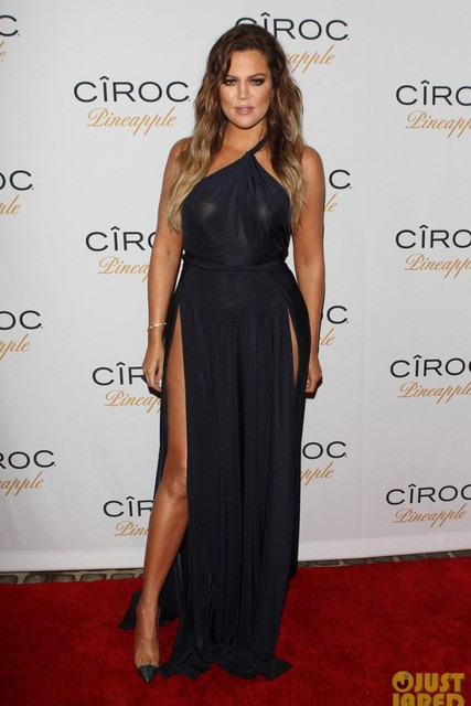 2017 Sexy Inspired by Khloe Kardashian Dark Navy Evening Dress ...