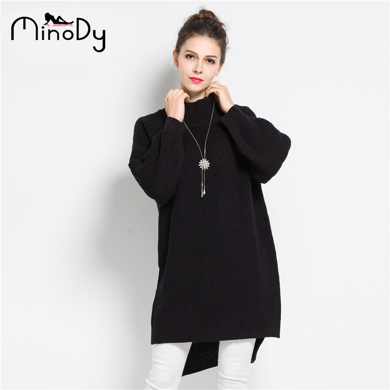 947dd6dc283 Minody Turtleneck Women Sweater Autumn Winter Large Size Black Pullover  Batwing Long Sleeve Casual Sexy Women