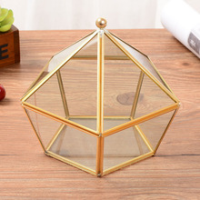 Hexagonal Geometric Ring Box For Glass Transparent Golden Jewelry Unique  Wedding Decorations Home Decoration