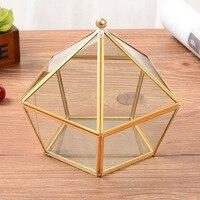 Hexagonal Geometric Ring Box For Glass Box Transparent Golden Jewelry Box Unique Wedding Decorations Home Decoration