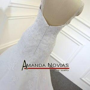 Image 5 - Wonderful crystal low back Mermaid full  lace designer irish lace wedding dresses