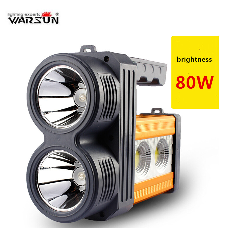 Warsun 80 w Haute puissance 2 couleurs lumières portable lanterne rechargeable étanche Projecteur lampe de Bureau côté lumière batterie Intégrée