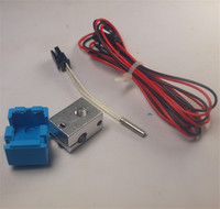 Funssor V6 Block And Silicone Sock PT100 K Type Thermocouple Upgrade Kit RepRap 3D Printer Hotend