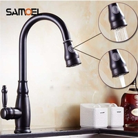 Black Pull Out Kitchen Faucet Bathroom Mixer Tap Deck Mounted Swivel Spout Stream Sprayer Lead Free