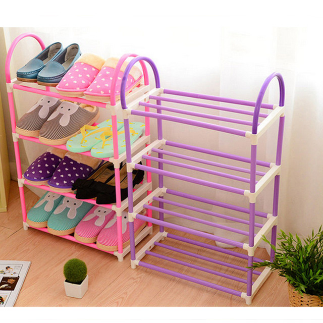 4 layer portable Plastic shoes rack Detachable Storage Shelf living ...