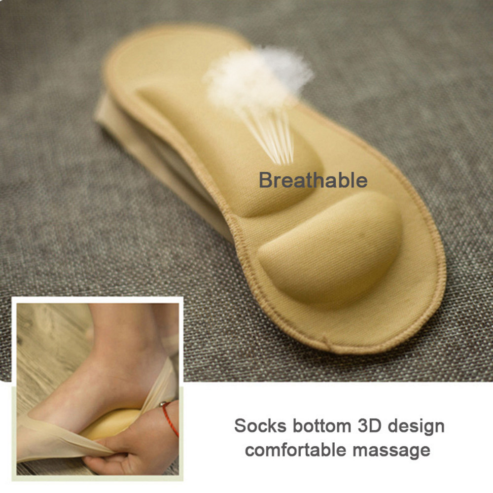1 Pair 3D Arch Foot Massage Health Care Women Summer Socks Ice Silk Socks Shallow Mouth Silica Gel  Invisible Slippers P0262 1