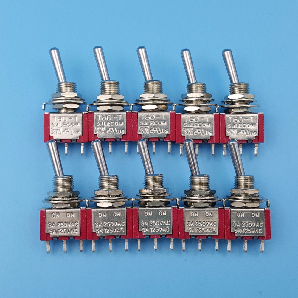 10Pcs SH <font><b>T8013</b></font> 3Pin SPDT ON-ON Maintained 2 Position Mini Toggle Switch 3A/250VAC image