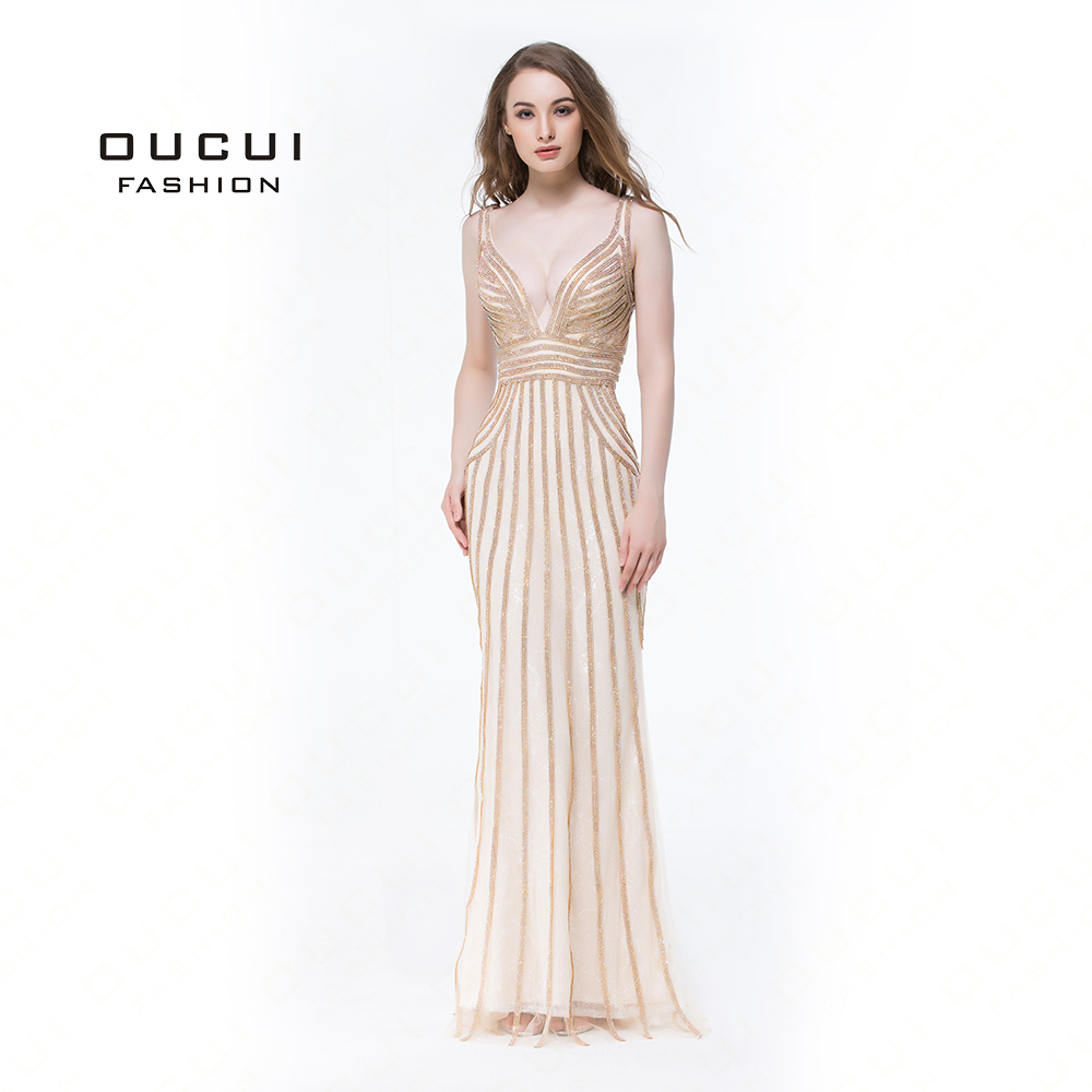Real Photos Tulle Crystal Gold Color Party Occasion Formal Long Evening Dress Party Handmade Tulle Deep