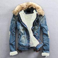 Plus Size 2017 Winter Warm Denim Jacket Men Clothing Jeans Coat Men Casual Outwear With Fur