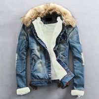Plus Size 2017 Winter Warm Denim Jacket Men Clothing Jeans Coat Men Casual Outwear With Fur