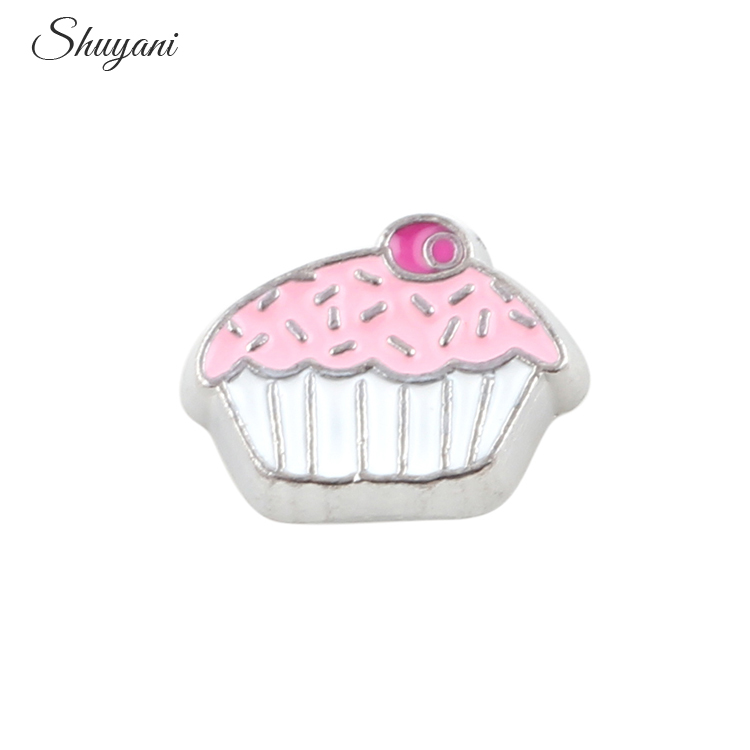 7*8 mm Alloy Metal Pink Candy Cake Flaoting Charm For Living Locket Pendant Women Jewelry