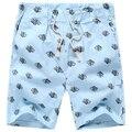 Плюс Размер M-5XL Летний Стиль 5 Цветов Мужчины Синяя Печать Шорты Повседневные Прямые Упругие Талии До Колен Тонкие Шорты Homme